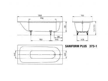 Kaldewei Badewanne Advantage SANIFORM PLUS 373-1 1700x750mm alpinweiss - 112600010001