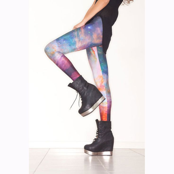 Fashion Casual Colorful Galaxy Printing Sportswear Women High Waist Sexy Slim Polyester Leggings Female Fitness Pants WL8324