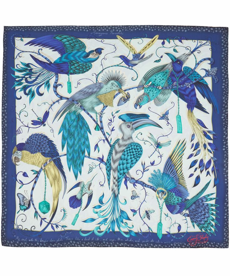 Emma J Shipley Blue Audubon Print Silk Scarf | Scarves by Emma J Shipley | Liberty.co.uk