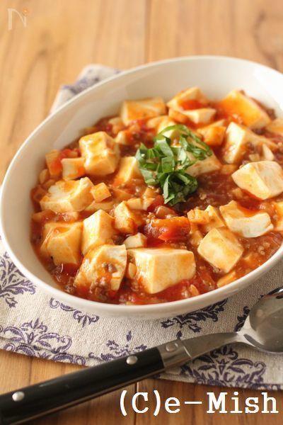 【たけのこ入りミートソース】を使ったアレンジレシピ。洋風テイストのマーボー豆腐です。市販のミートソースでも代用できます。