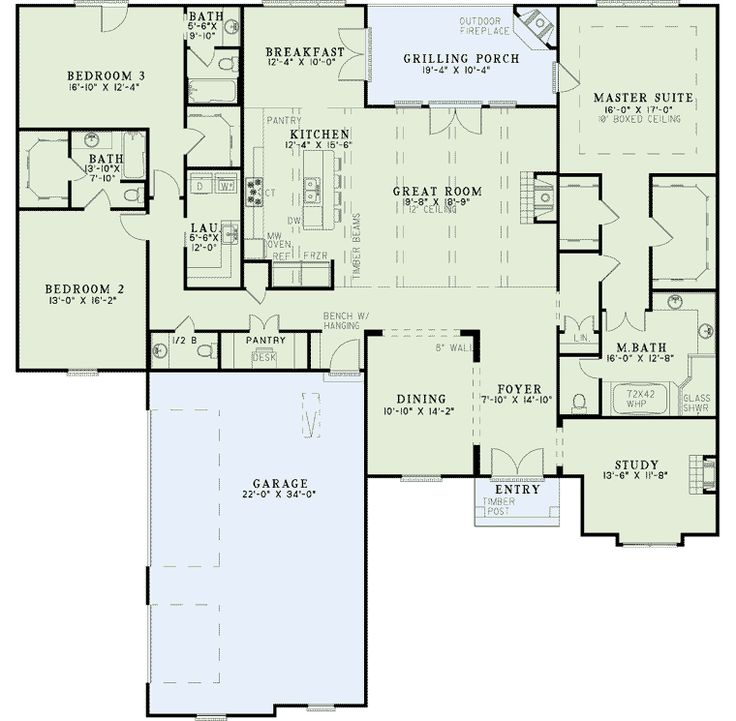 First Floor Plan Of Craftsman, European House Plan