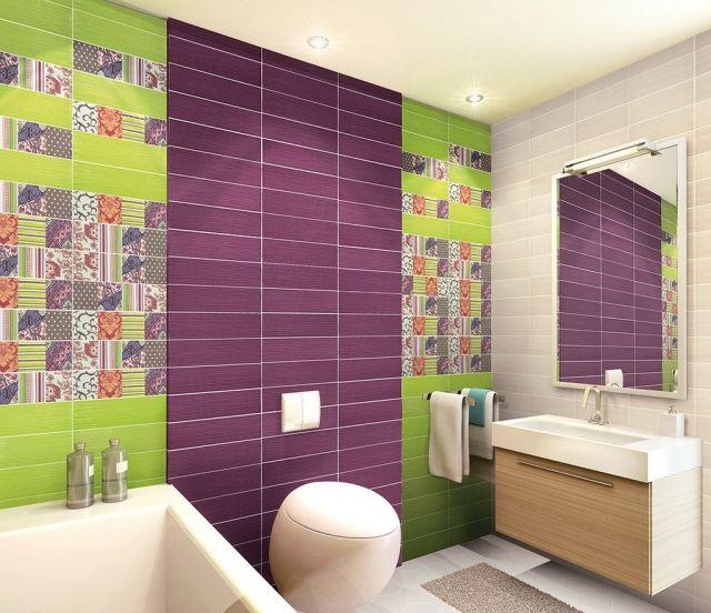 Badezimmer Fliesen Lila Gruen Patchwork Muster