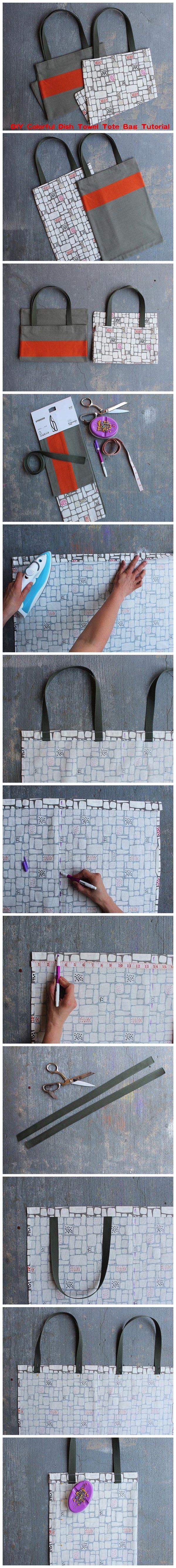 DIY Colorful Dish Towel #Tote #Bag #Tutorial