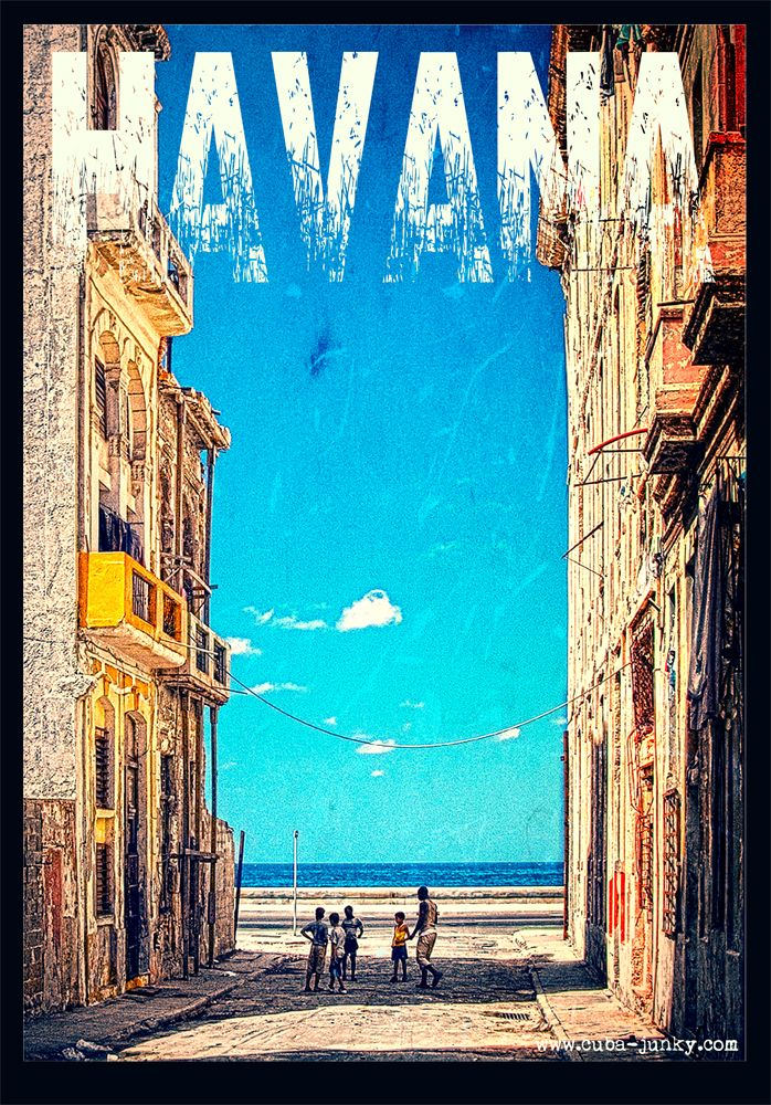 Centro Havana Cuba, view to the Malecon poster #grunge #vintage. http://www.cuba-junky.com
