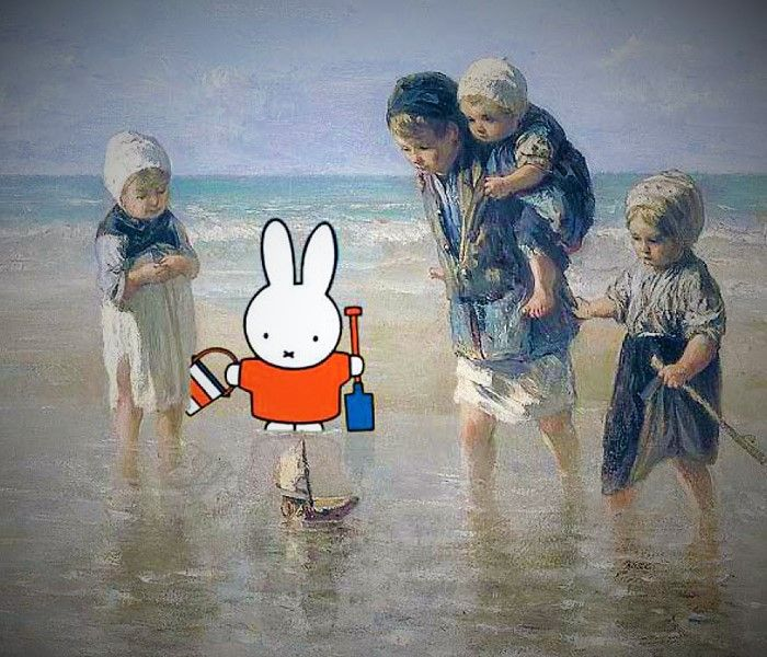 Nijntje ontdekt het Rijksmuseum en de kinderen der zee ontdekken Nijntje, hoe schattig is dit?