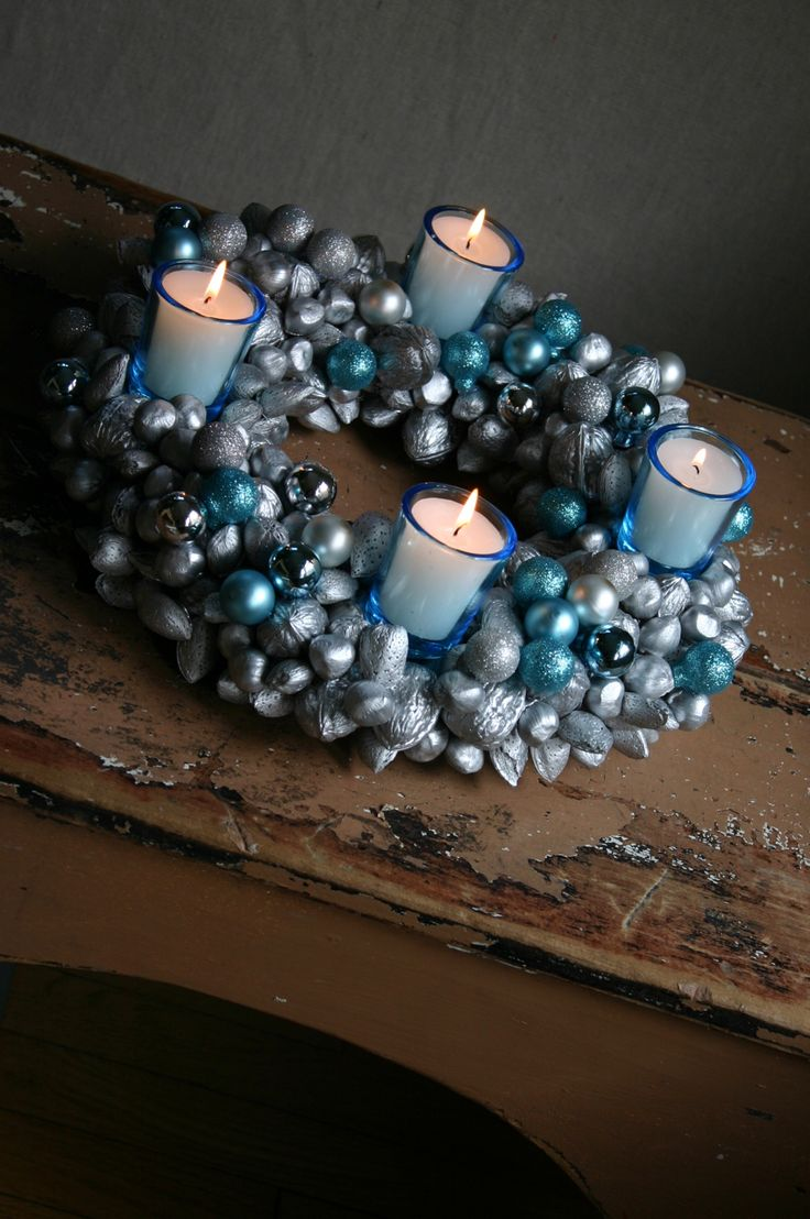 Nut & Glass Ornament Advent Wreath Centerpiece featuring Camilla from Family Chic {Handmade Holiday Project No.8}