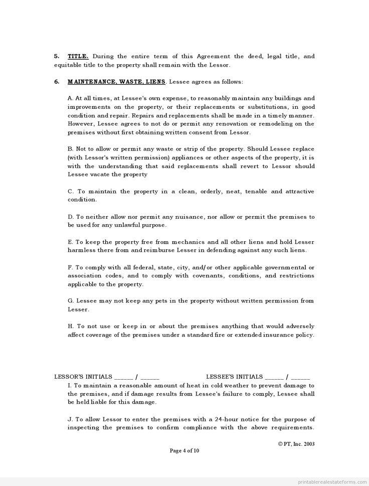 Sample Printable standard lease agreement Form