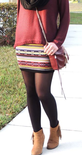 Similar outfit I want to recreate.  I have the tribal skirt already just need a top or sweater to go with it