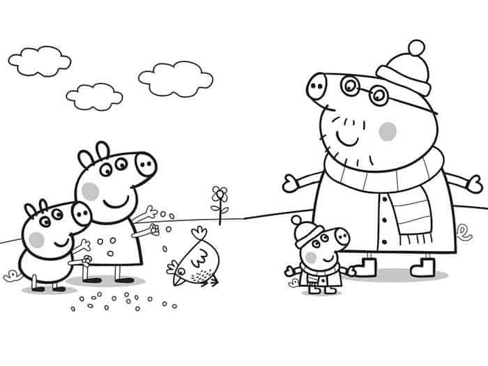 Peppa Pig Snow Coloring Pages Peppa Pig Coloring Pages Peppa Pig Colouring Peppa Pig Christmas
