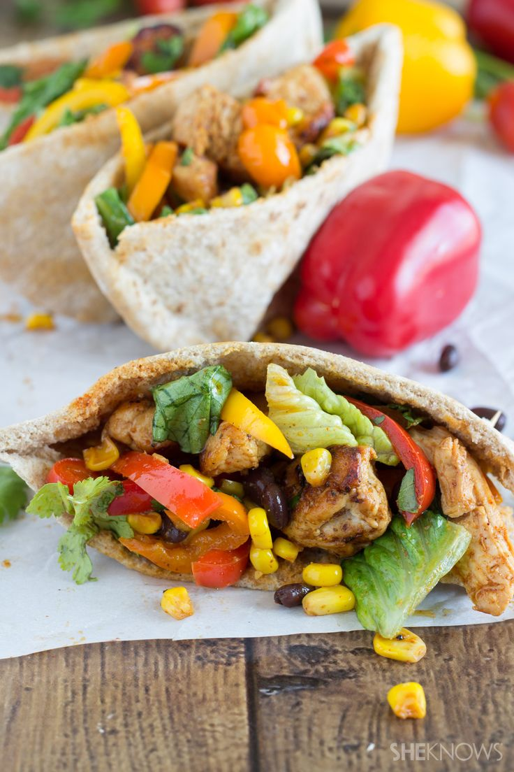 Southwestern pita pockets with spicy lime vinaigrette.  I love the sound of the dressing.  Yum.