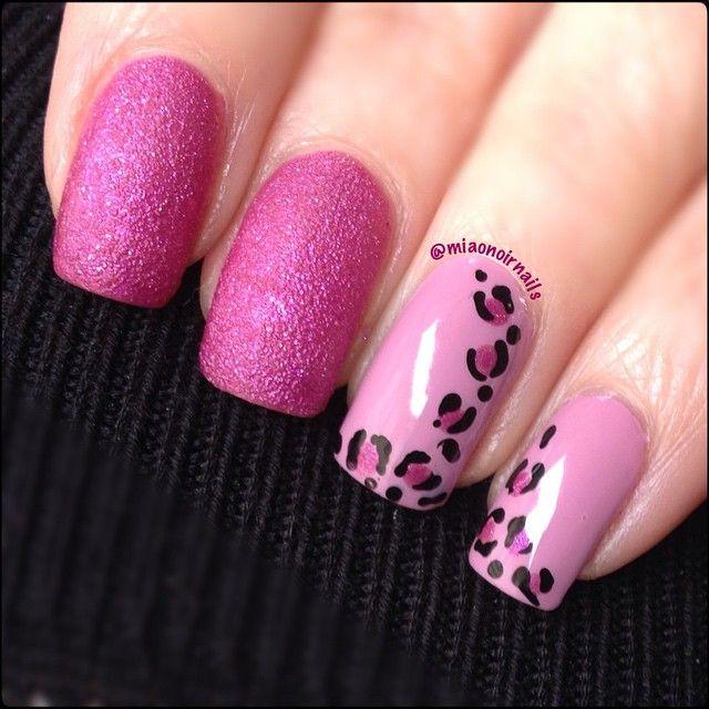 pink leopard nail design