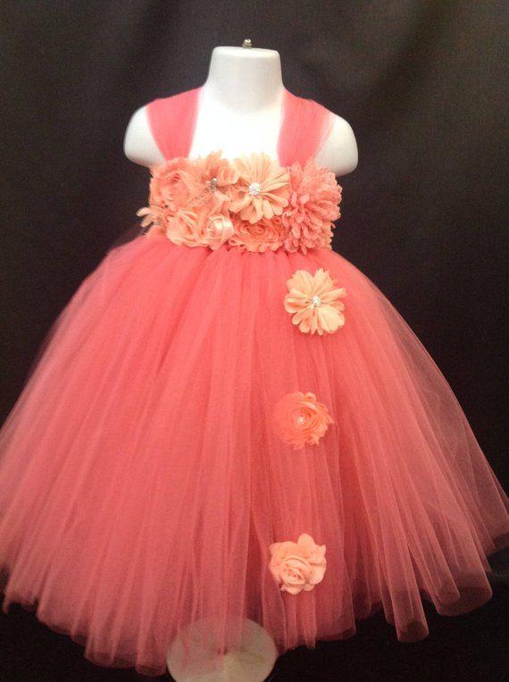 84d18243365 Girls Coral Peach Flower Girl Tutu Dress  clothing  children  girl   EtsyMktgTool  flowergirl  flowergirltutu  flowergirltutus