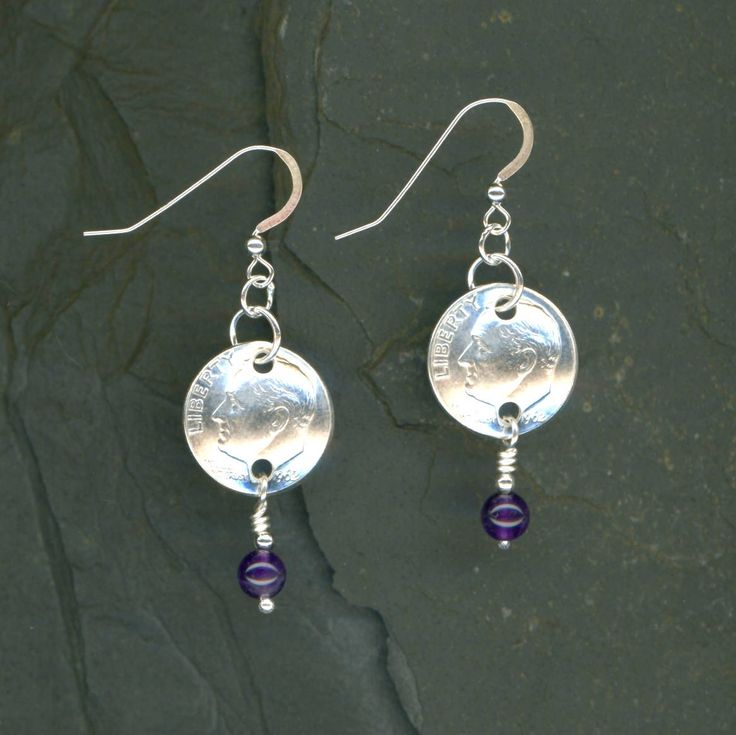55th Birthday 1962 Silver Dime Amethyst Earrings 55th Birthday Gift For Women 55th Anniversary Gift Coin Jewelry Gift For Her by WvWorksJewelry on Etsy