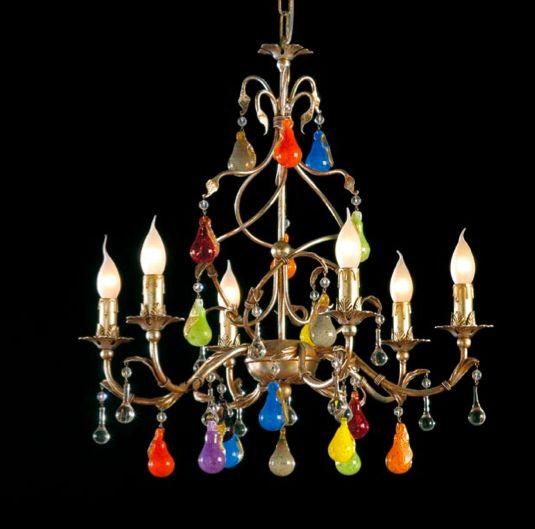 lustre fruits en verre de murano remplacent les pampilles sur ce lustre baroque disponible. Black Bedroom Furniture Sets. Home Design Ideas