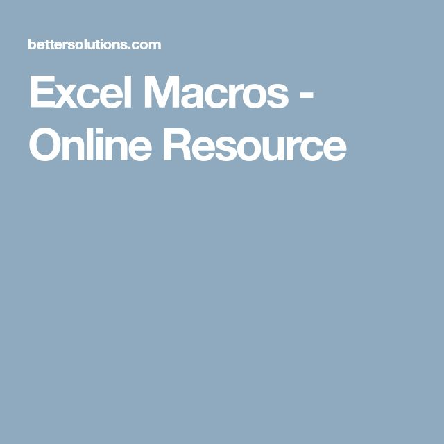 Excel Macros - Online Resource