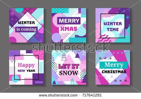 Happy new year and merry christmas geometric banners set in trendy memphis 90s style with triangles, lines, lettering, frames, party background or invitation template, cover, card, vector illustration