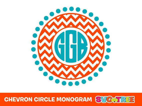 Chevron Circle Monogram Personalized Svg Dxf Vector By