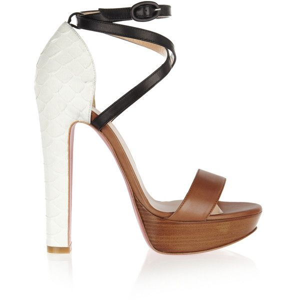 Christian Louboutin Summerissima 140 python and leather sandals (1.715 BRL) ❤ liked on Polyvore featuring shoes, sandals, heels, christian louboutin, chaussures, camel, wooden heel platform sandals, strappy high heel sandals, ankle strap heel sandals and leather strap sandals