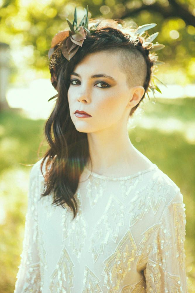 Wild and Overgrown Bridal Editorial rock'n'roll bride hair bald