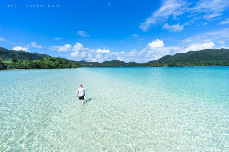 Walking in tropical lagoon, Ishigaki Island, Okinawa, Japan