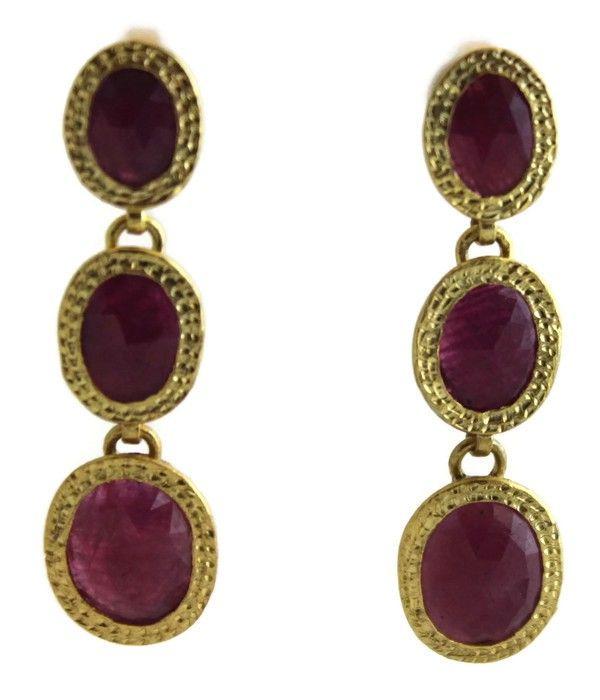 Ruby Red Vermeil  Drop Earrings