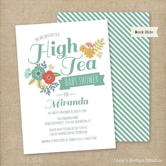High Tea Baby Shower Invitations Set Printable Or Printed Flat