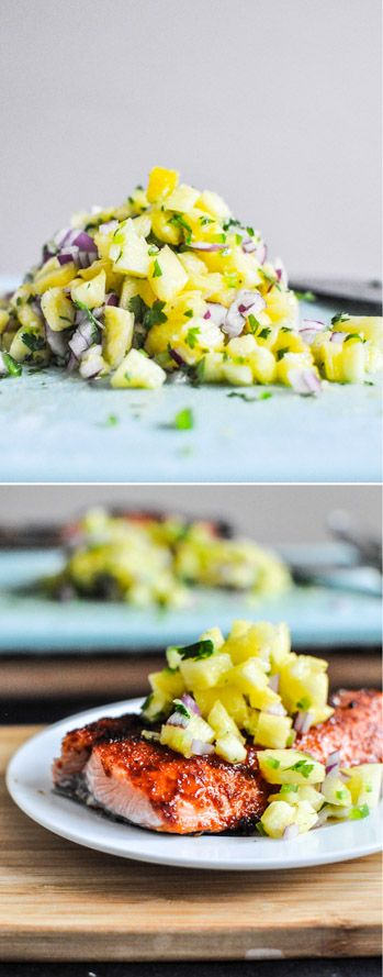 BBQ Salmon with Pineapple Salsa I howsweeteats.com