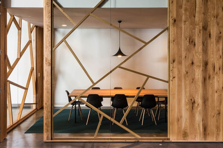 Interesting geometric design using timber sticks. Nice way to keep the workplace feeling inspired and creative. Gallery - BeFunky Portland Office / FIELDWORK Design & Architecture