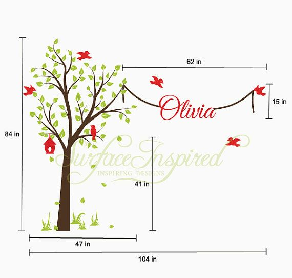 Wall Decal Nursery Wall Decals Tree Decal With by SurfaceInspired