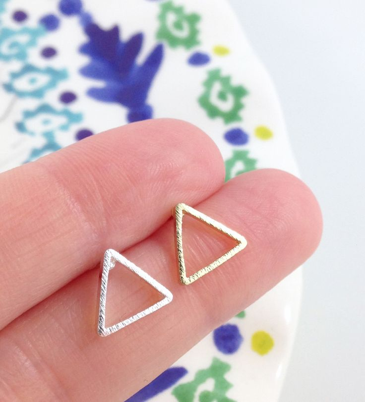 These+adorable+triangle+studs+are+perfect+touch +to+any+outfit.  Available+in+gold+and+silver.  *******See+something+else+you+like?*******  Shipping+is+only+50+cents+for+each+additional+item+going+to+the+US+or+Canada,+$1.00+for+everywhere+else!