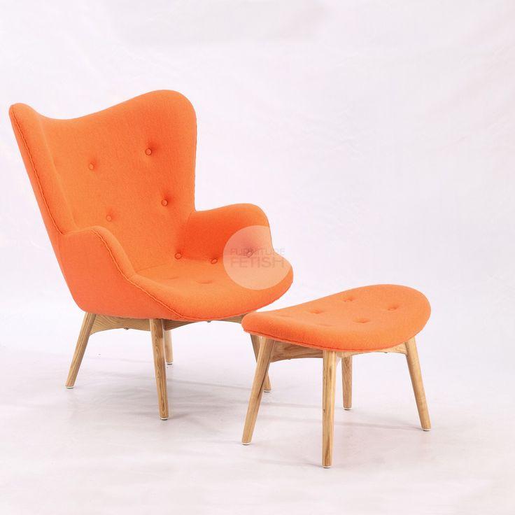 Replica Grant Featherston Chair & Ottoman - R160 Contour Chair Orange