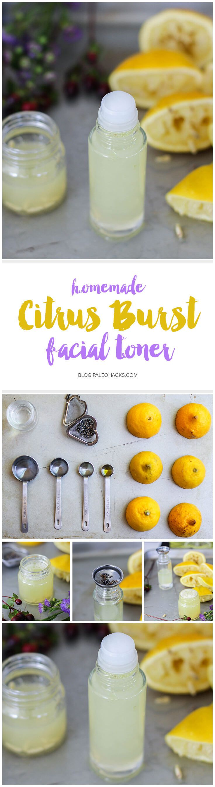 This homemade citrus burst facial toner will leave your face feeling fresh, clean, and sweet-smelling. Get the recipe here: http://paleo.co/DIYfacialtoner