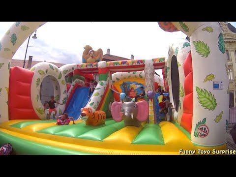 LIVE Outdoor Playground GIANT INFLATABLE SLIDE Jungle Fun Park Kids Balloons FunToyo Surprise - YouTube