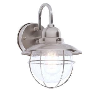 Hampton Bay, 1-Light Brushed Nickel Outdoor Cottage Lantern, BOA1691H-BN at The Home Depot - Mobile