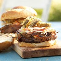 Bacon-Wrapped Burger with Fried Pickles & Slaw - I'm just thinking how ingenious to put fried pickles on a burger!
