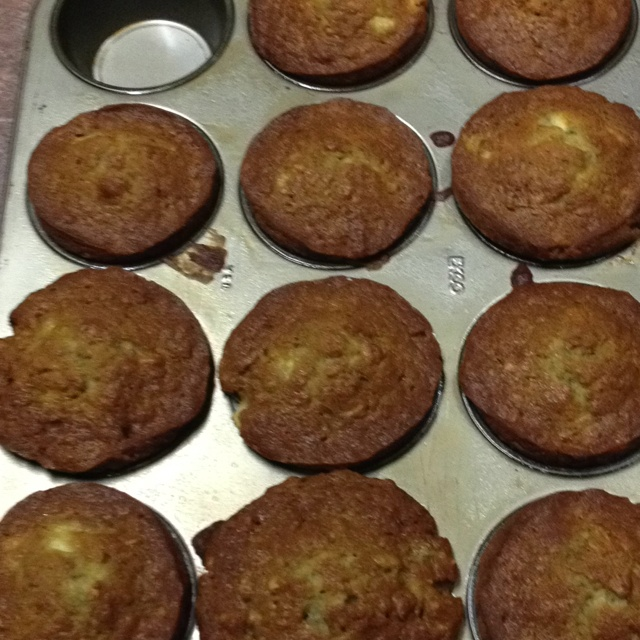 Oatmeal Banana (maybe Nut) Muffins:   Cream together: 1/2 c shortening 1 c sugar Add: 2 eggs and mix. Add:  3 mashed bananas and mix. Sift:  1 1/2 c flour,  1 tsp baking soda 1/4 tsp salt Into the mixture and add: 1/2 c oats. Mix in 1 tap vanilla.   Can add in  1/2 - 1 c pecan or walnut pieces (if your kids will eat that sort of thing). Pour into greased muffin pan and cook at 350 for 30 min.   Makes 12, but somehow I usually only end up with enough batter for 11.