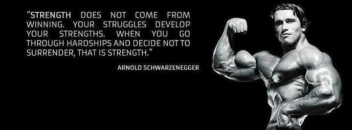 Arnold Schwarzenegger Motivational Wallpaper on Strength: Quote on Strength Strength does not come from winning your Struggles develop your Strengths. When you go through hardships and decide not to Surrender that is Strength.