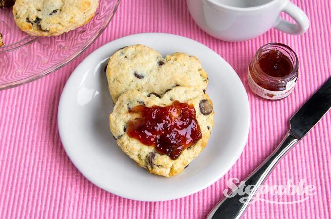 Heart-Shaped Chocolate Chip Scones with Strawberry Jam | Recipe
