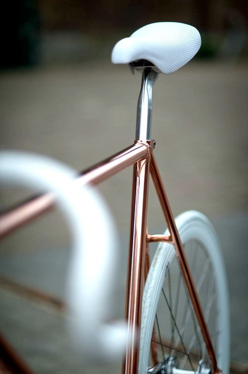 Pinterest..@blushedcreation Copper/ rose gold and white details bike. So cute!