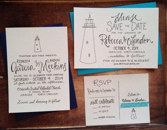 Lighthouse Wedding Invitation  by GreySnailPress on Etsy, $7.50