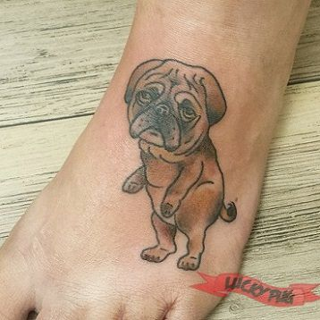 Foot pug tattoo by Nick Koster of Freestyle Tattoo, Canberra, Australia - www.luckypug.com