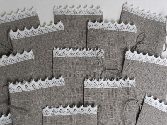 Small linen burlap favor bags striped with lace set of 10 gray and ivory. $20.00, via Etsy.
