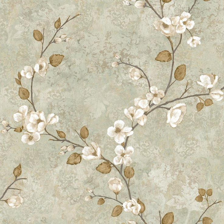 56 sq. ft. Charlotte Dogwood Wallpaper, Blue/Grey/Russet/Beige/Tan/Ivory/Beige