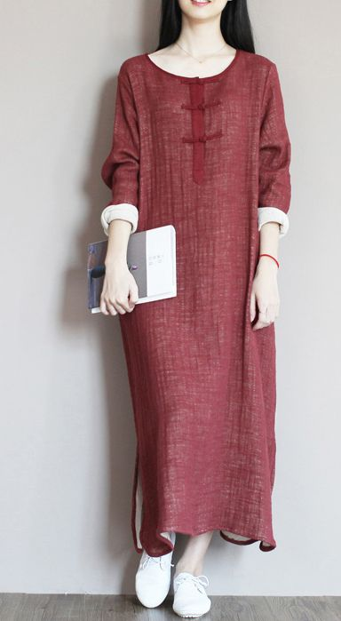 The rich and high educated girl back in the 1930's, China. Those lost memories. Brick red linen caftan summer maxi dresses