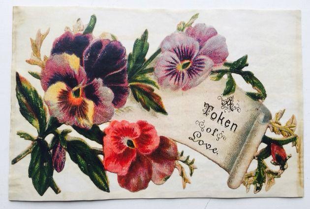 "Pansies- Token of love Vintage Aged Papers 11"" x 17"""