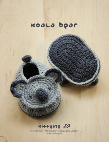 Koala Bear Baby Booties Crochet PATTERN from mulu.us This pattern includes sizes for 0 - 12 months.