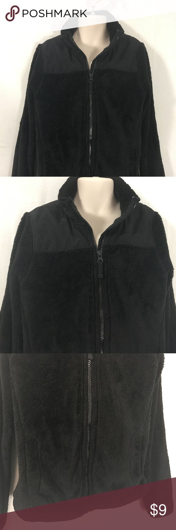 """Childrens Place Girls Black Fleece Jacket Coat 7/8 Children's Place Girls Black Fleece Jacket Kids Coat  SALE CODE: GREEN  •Size: 7-8 kids  (please read measurements as different brands size differently and previously owned clothing may be shrunk or stretched) •Measurements: 16.25"""" armpit to armpit and 19.75"""" long, 20"""" sleeve.   •Material: polyester & nylon •Style: fleece style fuzzy jacket  •In good previously owned condition Children's Place Jackets & Coats"""