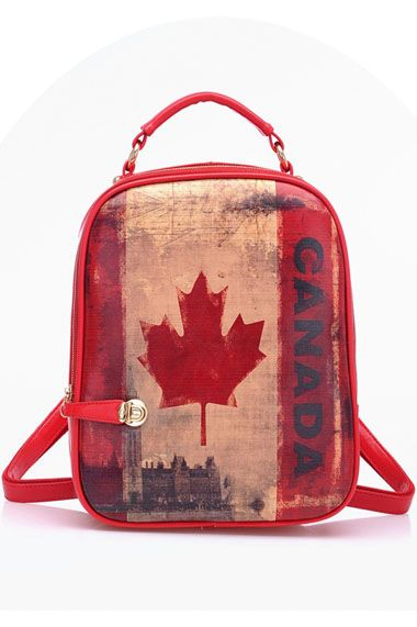 #Romwomen                 Canada Flag Pattern Painting Backpack