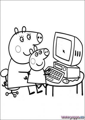 disegno Mamma Pig al computer da colorare
