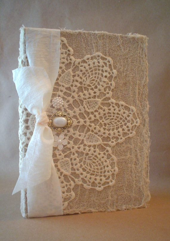 Altered Vintage Lace Doily Shabby Buttons by BrownPaperNest. Good idea for my Kindle cover!